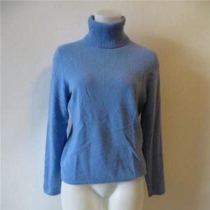 LORD & TAYLOR BLUE CASHMERE TURTLENECK SWEATERS M